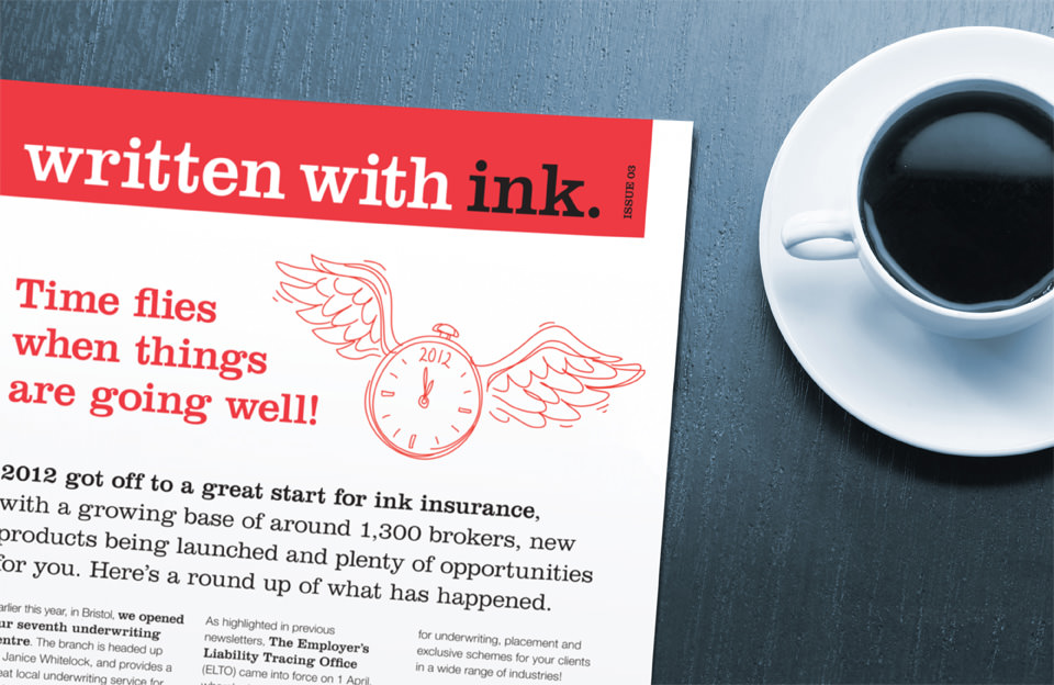 Newsletter written with ink.